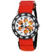 Disney Boy's 'Mickey Mouse' Quartz Stainless Steel and Nylon Casual Watch, Color:Red (Model: WDS000153)