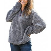 JJyee Women's Fleece Pullover Fashion Sweater Solid Color Zippered