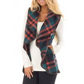 InStylish Women's Color Block Lapel Open Front Sleeveless Plaid Vest Cardigan With Pockets