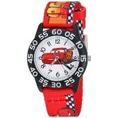 Disney Boy's 'Cars' Quartz Plastic and Nylon Casual Watch, Color:Red (Model: WDS000124)