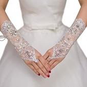 Evaliana Wedding Bridal Floral Lace Crystal Rhinestone Fingerless Gloves