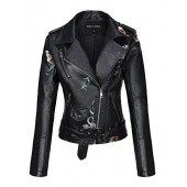 Bellivera Womens Long Sleeves Faux Leather Zipper Jacket Coat Embroidery Floral PU Leather Outwear