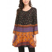 SE MIU Women Ethnic Style Printed Tunic Tops Bohemian Crew Neck Loose Blouse