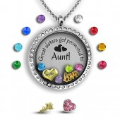 Best Sister Necklace My Aunt Gifts | Aunt Jewelry Sister Jewelry | Best Aunt Gifts Best Friend Necklace | Stainless Steel 30mm Authentic Floating Charm Locket | Memory Locket Filled with Charms