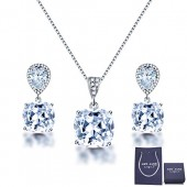 Elegant Jewelry Set for Women - AMYJANE Silver Teardrop Clear Cubic Zirconia Crystal Rhinestone Drop Earrings and Necklace Bridal Jewelry Sets Best Gift for Bridesmaids 5000+ Instagram Like