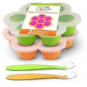 Best Homemade Baby Food Storage Container Freezer Trays - Reusable Food Container Silicon Tray With Clip On Lid - 2 Pack Bundle With 2 Bonus Spoons - BPA Free FDA Approved 2.6 Ounce