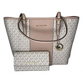 MICHAEL Michael Kors Jet Set Travel MD Carryall Tote bundled with Michael Kors Jet Set Travel Large Trifold Wallet