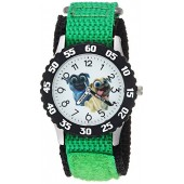 Disney Boy's 'Puppy Dog' Quartz Stainless Steel and Nylon Casual Watch, Color:Green (Model: WDS000434)