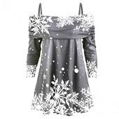 Kiminana Women Christmas Snowflake Print Long Sleeve Casual Sweatshirt Sling Tops