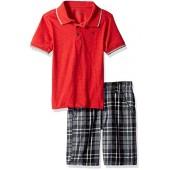 Calvin Klein Boys 2 Pieces Polo Short Set-Grays