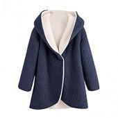 Ladies Fleece Outerwear Laimeng World Women's Winter Curved Hem Longline Faux Fur Fleece Hoodie Coat
