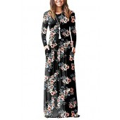 ESONLAR Women Floral Printed Long Sleeve Empire Maxi Dress with Pocket