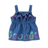 Gymboree Baby Toddler Girls' Fruit Border Print Chamb Woven Top