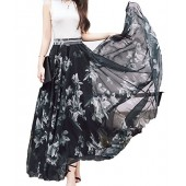 Afibi Women Full/Ankle Length Blending Maxi Chiffon Long Skirt Beach Skirt