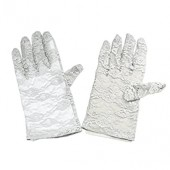 MiDee Full Finger Lace Gloves For Dance Performance Wedding (Silver Gray)