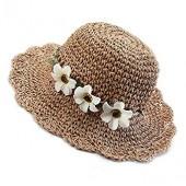 Sainfee Kids Baby Summer Straw Hat Floppy Foldable Wide Brim Hat Woven Cap Beach Sun Visor Hat