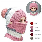 NEEDOON 3 in 1 Winter Hat Scarf Mask Ear Muff Set for Women Girls, Knitted Hat Ear Muffs Neck Warmer with Detachable Mask and Slouchy Beanie Pom Pom for Girls Fashion Beauty Valentines Day Gift(Pink)