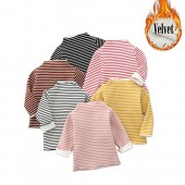 ZINPRETTY Baby Girls Thicken Tops Infant Toddler Long Sleeve Blouse Kids Striped Pullovers Unisex Tees