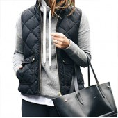 Yi Xian Women's Stand Collar Warm Padded Zip Closure Side Pockets Gilet Quilted Puffer Vest