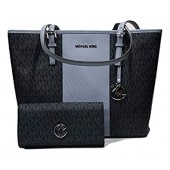MICHAEL Michael Kors Jet Set Travel MD Center Stripe Carryall Tote bundled with Michael Kors Fulton Flap Continental Wallet