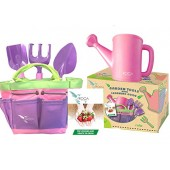 Pink Gardening Tools for Kids with STEM Early Learning Guide by ROCA Home. Garden Tools Toys, Outdoor Toys and Learning Toys. Cute Pink and Purple Garden Bag.