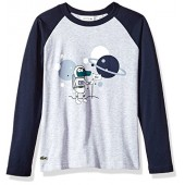 Lacoste Boys' Long Sleeve Space Croc Graphic T-Shirt