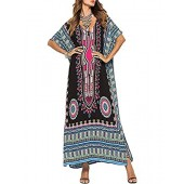 Buauty Caftan Dresses for Women V Neck Long Kaftan Cover Up Summer Maxi Dress Plus Size