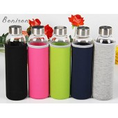 Newest 18 Oz Glass bottle Top Level Quality Environmental Borosilicate Glass Water Bottle with Colorful Nylon Sleeve,BPA Free,Crysital Clear,Trendy Design