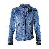 Dreamskull Womens Stand Collar Moto Stretch Denim Jean Jacket