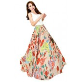 Afibi Womens Blending Chiffon Retro Long Maxi Skirt Vintage Dress