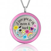 I Love You to the Moon and Back My Daughter Necklace Floating Charm Locket | Quote Jewelry | Daughter Gift