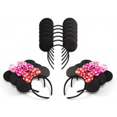 Pack of 12 Mickey Mouse Ears & Minnie Mouse Headband with Red, Pink and Rose Polka Dot Bow
