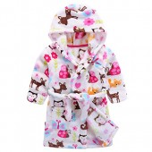 Baby Boy Girl Plush Bathrobe Infant Hooded Robe Tower