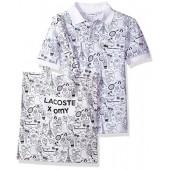 Lacoste Boys' Short Sleeve Omy All Over Print Polo