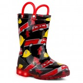 Chillipop Light Up Rainboots for Boys, Girls & Toddlers with Fun Kid Prints with