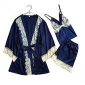 Allshope 3 Pieces Women Sexy Nightgown Sleepwear Dress Satin Pajama 3 Colors