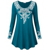 SUNGLORY Women's Paisley Long Sleeve Tunic Tops Floral Printed Shirts Blouse(All Item Sold Fulfilled Amazon)