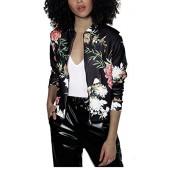 Mojessy Women's Floral Print Classic Quilted Baseball Jacket Fall Short Biker Bomber Jacket Coat