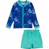 SwimZip Zipper Long Sleeve Rash Guard Swimsuit Set Captain Kid Blue