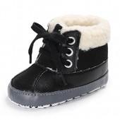 Meeshine Baby Boys Girls Plush Lace Up Snow Boots Newborn Infant Toddler Winter Warm Non-Slip Soft Sole Prewalker Crib Shoes