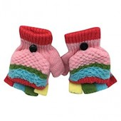 Toddler Colorful Patchwork Gloves, TRENDINAO Baby Girls Boys Winter Soft Warm Gloves for Age 2-6 Years