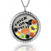 Halloween Jewelry Floating Charm Lockets Halloween Costume Jewelry Creepy Halloween Witch Charm Necklace