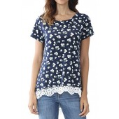 Bzonly Womens Floral Tunic Top Lace Hem T Shirt Summer Short Sleeve Tee Top