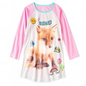 Girls' Graphic Pajama Long Sleeve Nightgown featuring Puppy, Unicorn, Penguin or Emojis