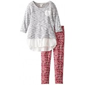 One Step Up Big Girls' Two-Piece Set with Sweater Top with Leggings