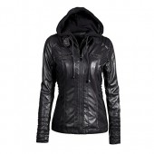 flower Womens Removable Hooded Faux Leather Motorcycle Jacket
