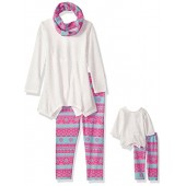 Dollie & Me Big Girls' Fairisle Legging Set with Scarf and Matching Doll Outfit