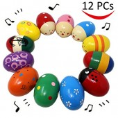12 Pieces Percussion Musical 3'' Easter Maracas Egg Shakers for Basket Stuffers Fillers, Spring Gift Set Bundle, Easter Hunt, Party Favors, Classroom Prize Supplies, Musical Instrument by Joyin Toy
