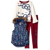Hello Kitty Big Girls' 3 Piece Tee, Vest, and Legging Set