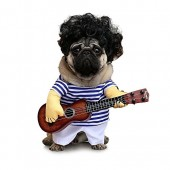 FanQube Fancy Guitar Player Pets Costume Cosplay Stripes Apparel without Wig Party Dress Up Clothing for Dogs Cats
